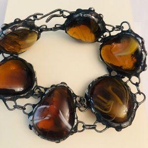 Antique large amber stone bracelet